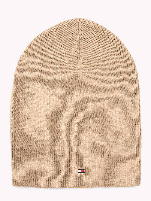 TOMMY HILFIGER Flag Beanie Hat - CLASSIC CAMEL - TOMMY HILFIGER Caps & Beanies - main image