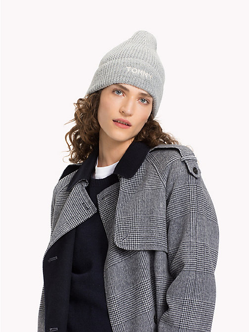 TOMMY HILFIGER Strickmütze mit Logo - LIGHT GREY HEATHER - TOMMY HILFIGER Winterfavoriten - main image 1