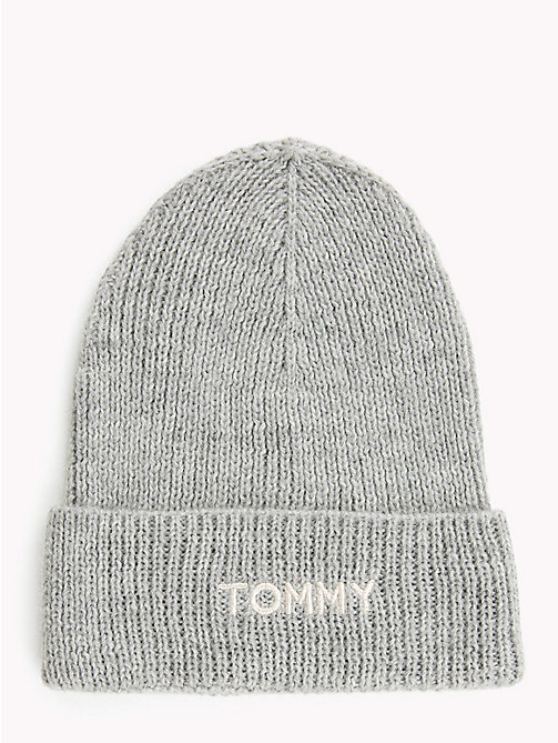 TOMMY HILFIGER Knit Logo Hat - LIGHT GREY HEATHER - TOMMY HILFIGER Winter Warmers - main image