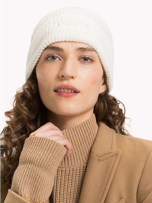 TOMMY HILFIGER Knit Logo Hat - SNOW WHITE - TOMMY HILFIGER Hats - detail image 1