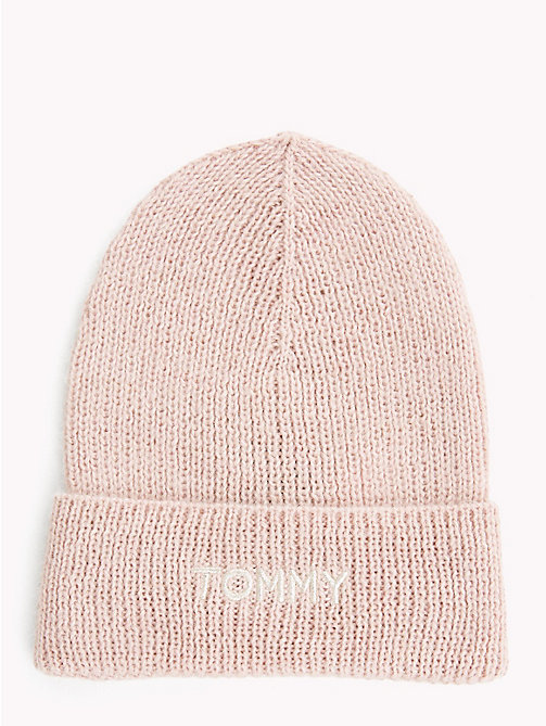 TOMMY HILFIGER Knit Logo Hat - SILVER PINK - TOMMY HILFIGER Caps & Beanies - main image