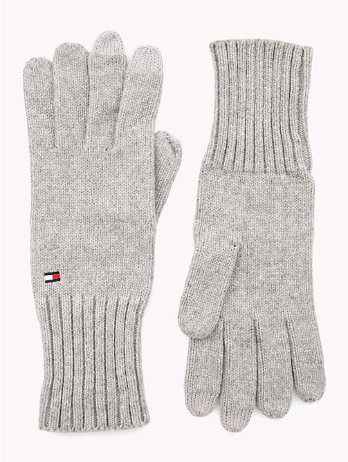 TOMMY HILFIGER Handschuhe mit Branding - LIGHT GREY HEATHER -  Mützen - main image