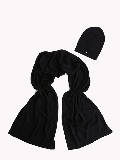 TOMMY HILFIGER Knit Scarf and Hat Set - BLACK - TOMMY HILFIGER Winter Warmers - main image