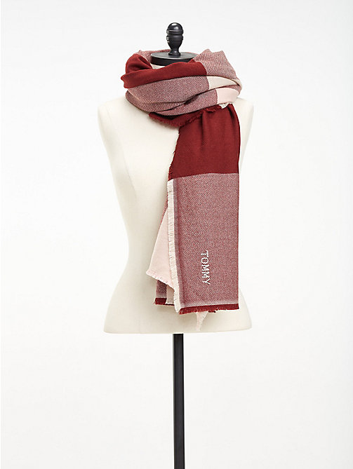 TOMMY HILFIGER Colour-Blocked Blanket Scarf - SILVER PINK MIX - TOMMY HILFIGER Scarves - main image