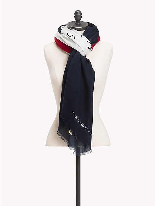 TOMMY HILFIGER Sjaal met chevron design en mascotte - CORPORATE - TOMMY HILFIGER Sjaals - main image
