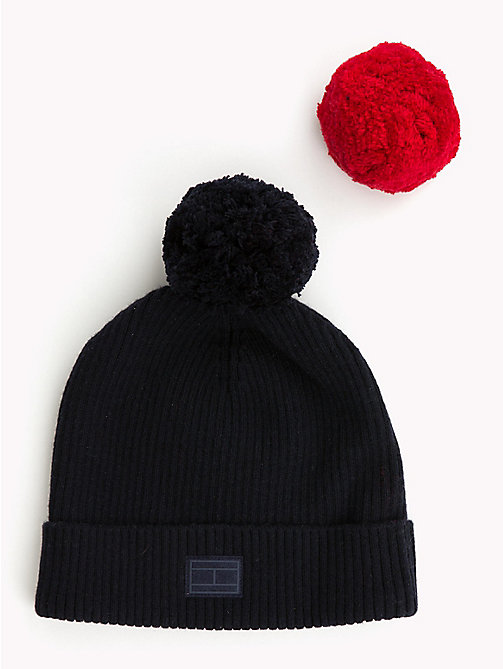 TOMMY HILFIGER Bobble Beanie Hat Gift Set - TOMMY NAVY - TOMMY HILFIGER NEW IN - detail image 1