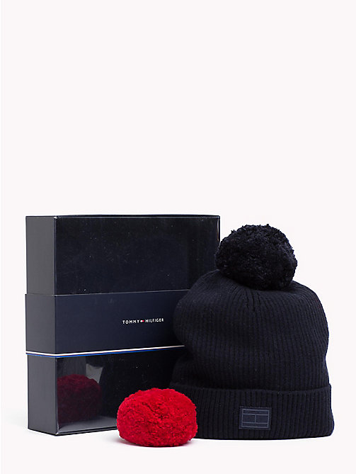 TOMMY HILFIGER Bobble Beanie Hat Gift Set - TOMMY NAVY - TOMMY HILFIGER NEW IN - main image