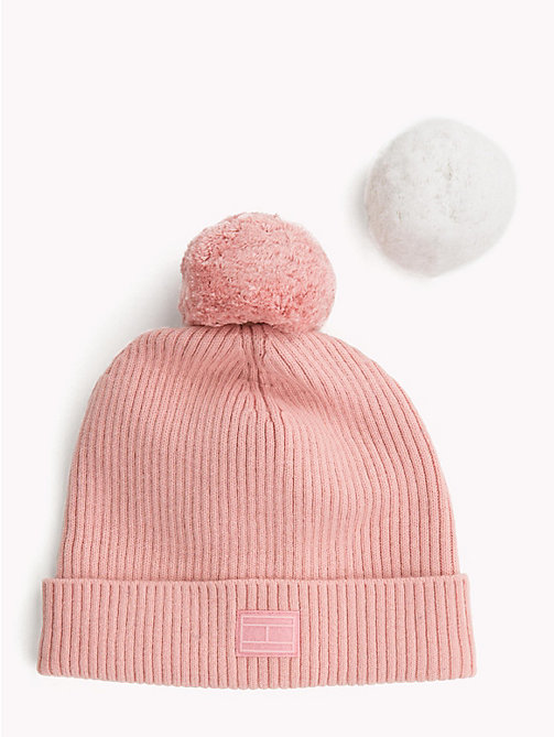 TOMMY HILFIGER Bobble Beanie Hat Gift Set - SILVER / PINK - TOMMY HILFIGER NEW IN - detail image 1