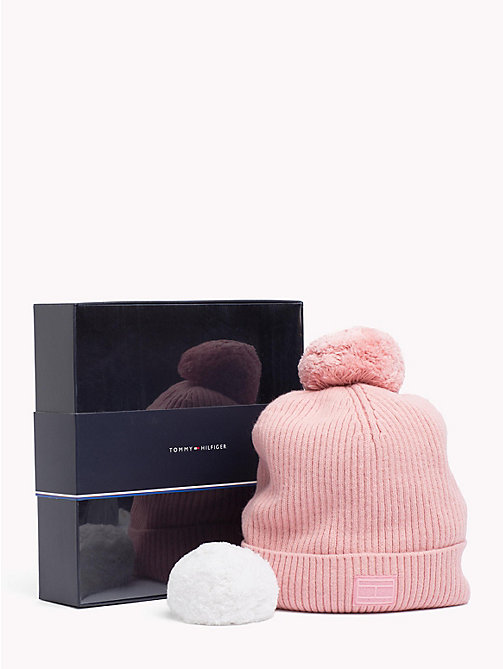 TOMMY HILFIGER Bobble Beanie Hat Gift Set - SILVER PINK - TOMMY HILFIGER NEW IN - main image