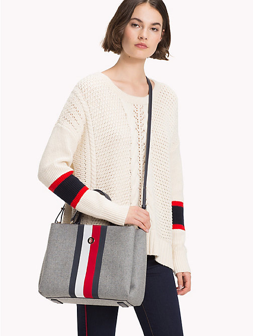 TOMMY HILFIGER Striped Wool Satchel - GRAY/ CORP STRIPE - TOMMY HILFIGER Satchel Bags - detail image 1