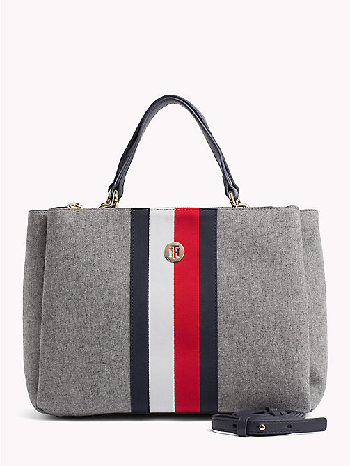 TOMMY HILFIGER Striped Wool Satchel - GRAY/ CORP STRIPE - TOMMY HILFIGER Satchel Bags - main image