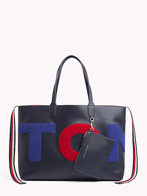 TOMMY HILFIGER Towelling Logo Tote Bag - TOMMY NAVY/ TOWLING - TOMMY HILFIGER NEW IN - main image
