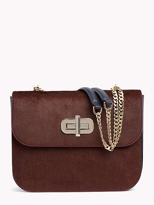 TOMMY HILFIGER Textured Chain Satchel - BURGUNDY/ TOMMY NAVY - TOMMY HILFIGER Bags & Accessories - main image