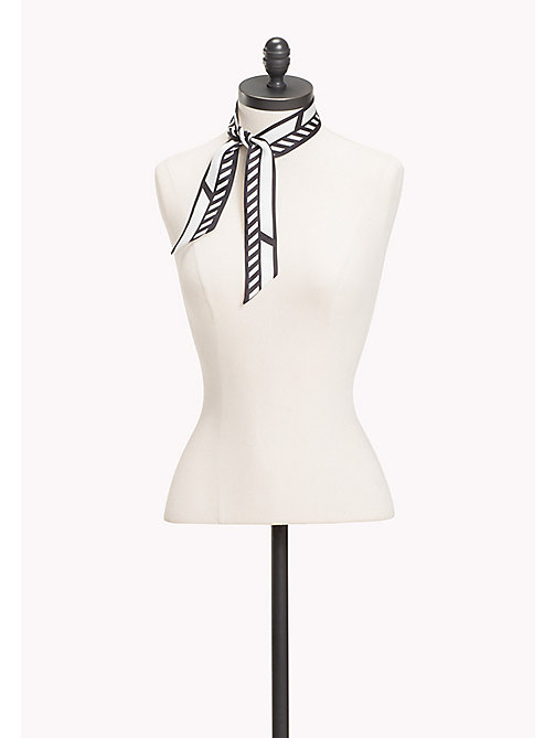 TOMMY HILFIGER Racing Inspired Skinny Silk Scarf - BLACK/WHITE - TOMMY HILFIGER Scarves - main image