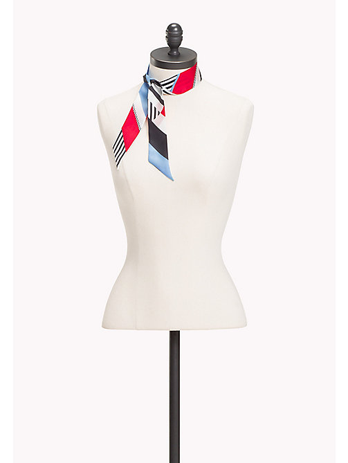 TOMMY HILFIGER Racing Inspired Skinny Silk Scarf - STRIPE MIX - TOMMY HILFIGER Scarves - main image