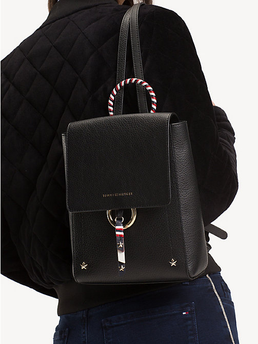 TOMMY HILFIGER Heritage Leather Backpack - BLACK - TOMMY HILFIGER Backpacks - detail image 1
