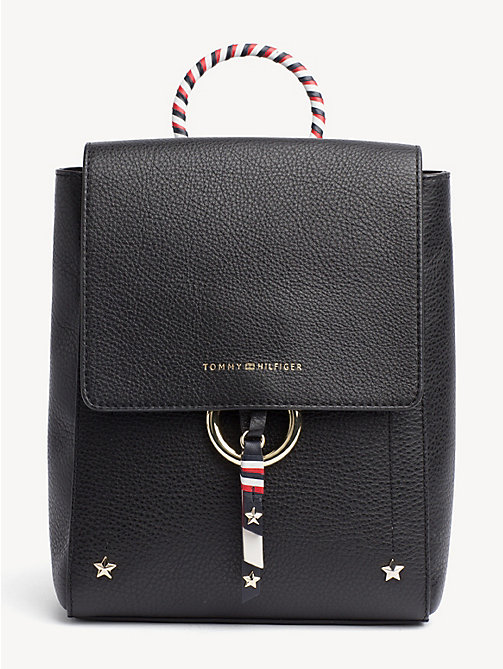 TOMMY HILFIGER Heritage Leather Backpack - BLACK - TOMMY HILFIGER Backpacks - main image