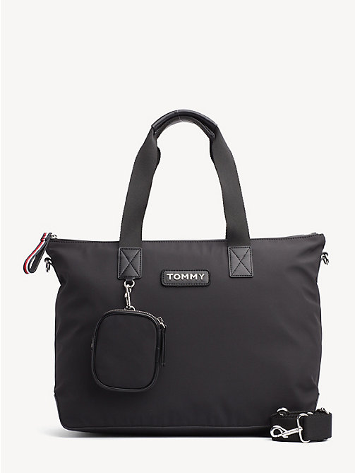 TOMMY HILFIGER Varsity Zipped Colour-Blocked Tote - BLACK - TOMMY HILFIGER Tote Bags - main image