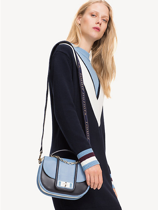 TOMMY HILFIGER TH Fancy Leather Crossover Bag - DUSK BLUE MIX - TOMMY HILFIGER Party Looks - detail image 1
