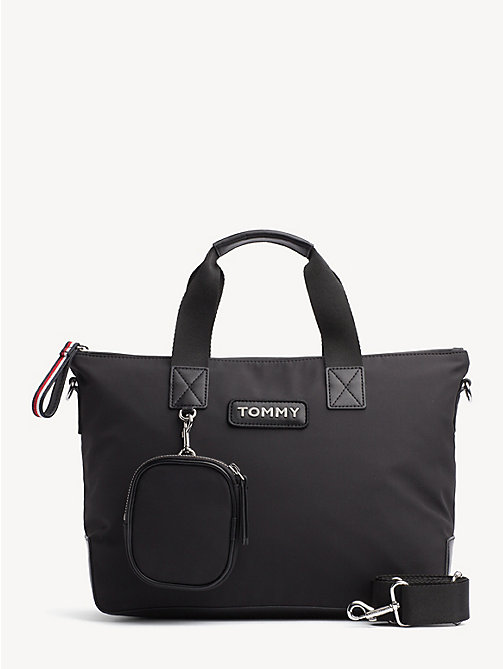 TOMMY HILFIGER Varsity Small Zipped Tote - BLACK - TOMMY HILFIGER NEW IN - main image