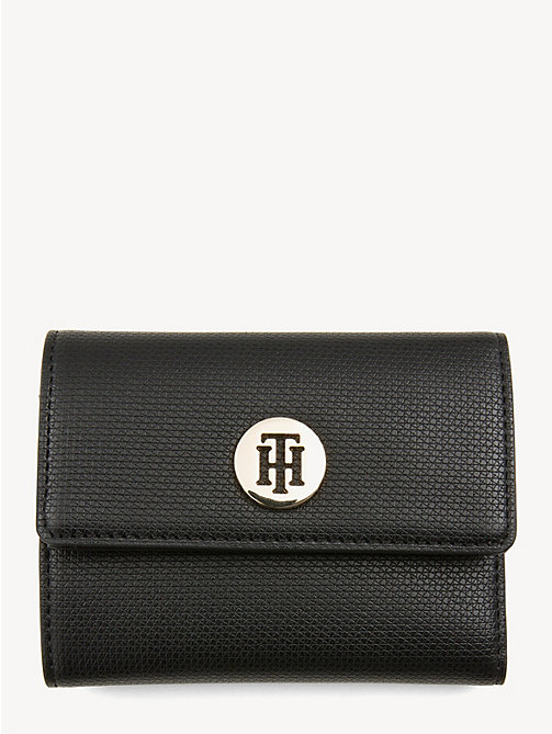 TOMMY HILFIGER Effortless Monogram Plaque Wallet - BLACK - TOMMY HILFIGER Wallets - main image