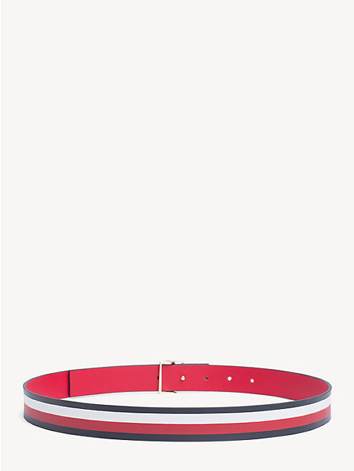 TOMMY HILFIGER Reversible Stripe Leather Belt - TOMMY RED - CORP STRIPE - TOMMY HILFIGER NEW IN - detail image 1