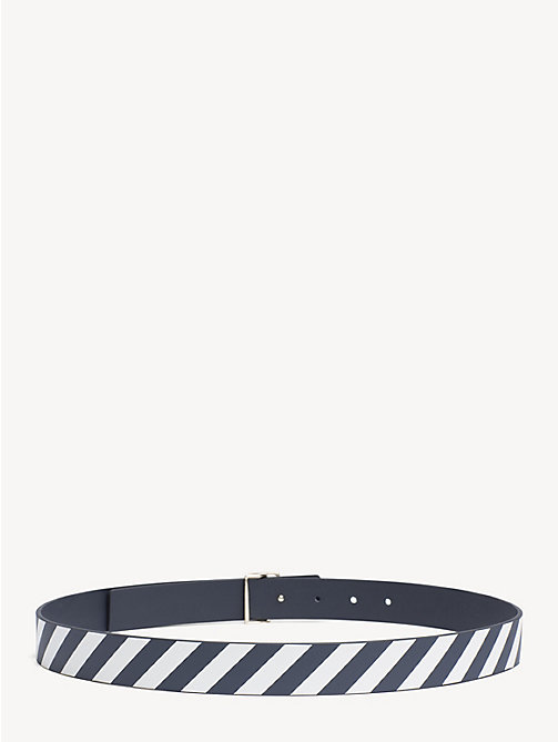 TOMMY HILFIGER Reversible Stripe Leather Belt - TOMMY NAVY- STRIPE - TOMMY HILFIGER Belts - detail image 1