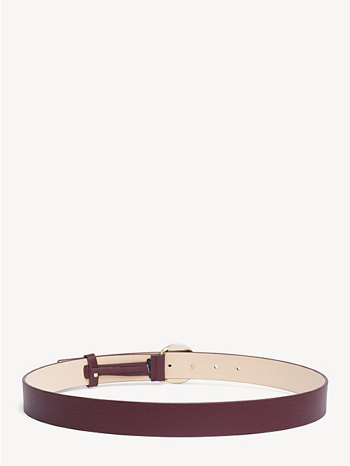 TOMMY HILFIGER Monogram Plaque Leather Belt - CABERNET - TOMMY HILFIGER NEW IN - detail image 1
