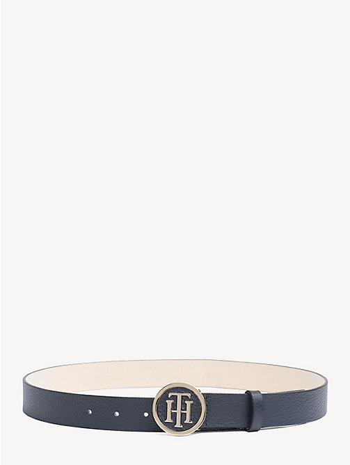 TOMMY HILFIGER Monogram Plaque Leather Belt - TOMMY NAVY - TOMMY HILFIGER Belts - main image