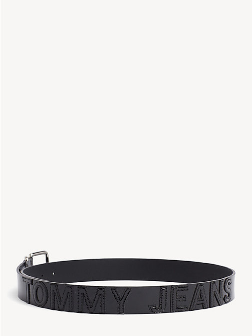 TOMMY JEANS Patent Leather Stitched Logo Belt - BLACK - TOMMY JEANS Shoes & Accessories - detail image 1