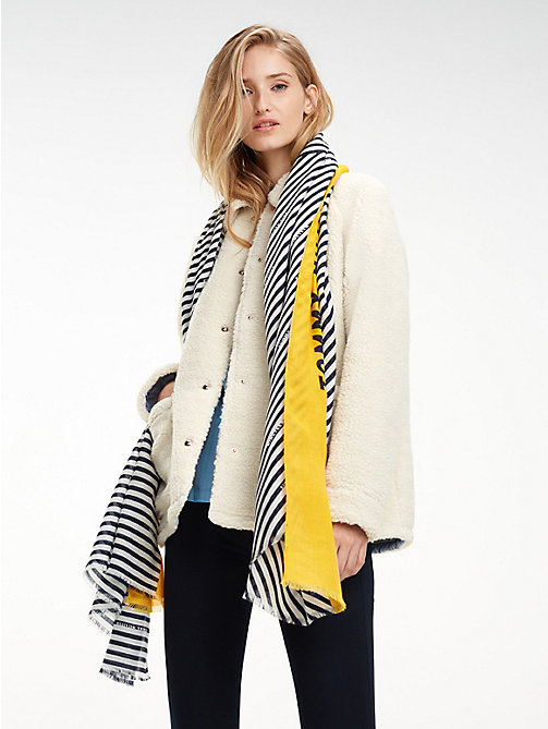 TOMMY HILFIGER Sjaal met colour-blocked streep - TOMMY NAVY - TOMMY HILFIGER Sjaals - main image