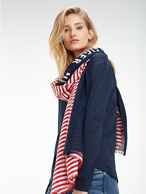 TOMMY HILFIGER Sjaal met colour-blocked streep - TOMMY RED - TOMMY HILFIGER Sjaals - main image