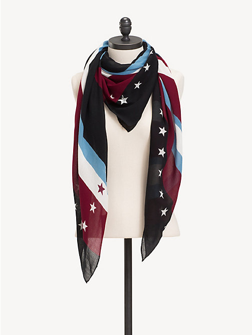 TOMMY HILFIGER Stars And Stripes Square Scarf - CABERNET - TOMMY HILFIGER NEW IN - detail image 1