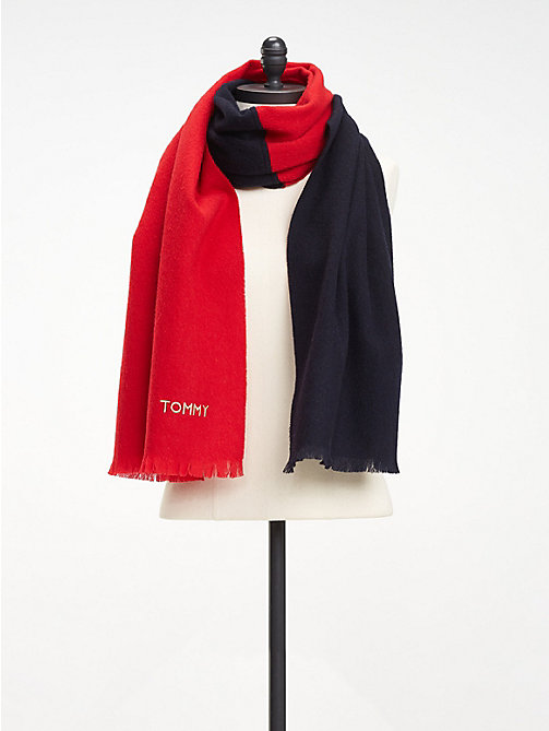 TOMMY HILFIGER Wollen sjaal met colour-blocking - CORPORATE - TOMMY HILFIGER Sjaals - detail image 1
