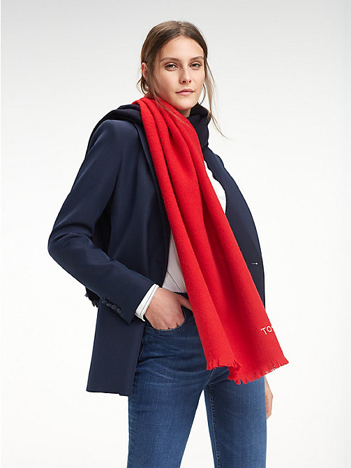 TOMMY HILFIGER Wollen sjaal met colour-blocking - CORPORATE - TOMMY HILFIGER Sjaals - main image