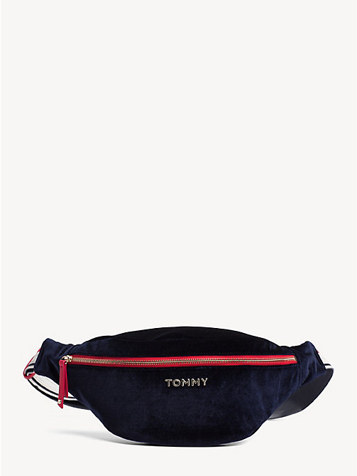 TOMMY HILFIGER Oversized Velvet Bum Bag - TOMMY NAVY - TOMMY HILFIGER NEW IN - main image