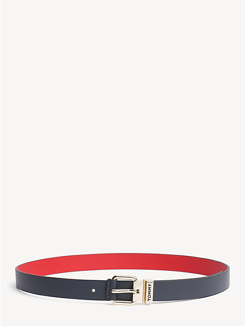 TOMMY HILFIGER Logo Keeper Reversible Leather Belt - TOMMY NAVY/ TOMMY RED - TOMMY HILFIGER Belts - main image