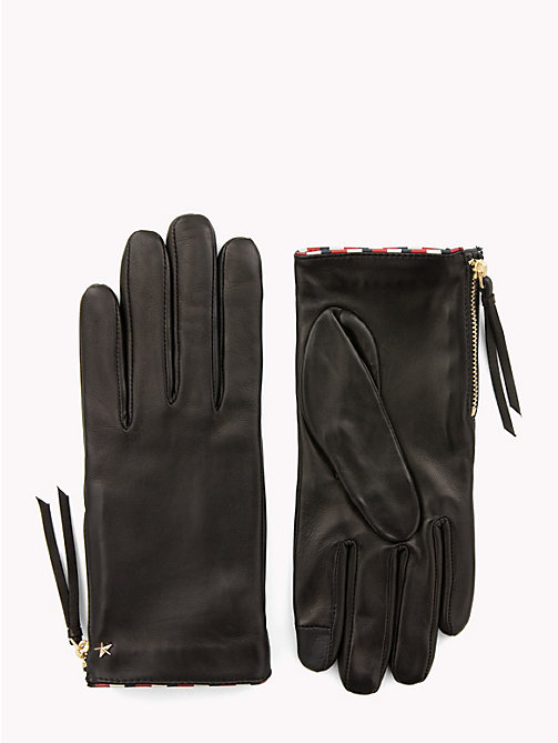TOMMY HILFIGER Star Leather Gloves - BLACK - TOMMY HILFIGER Gloves - main image