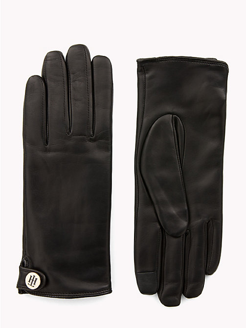TOMMY HILFIGER Monogram Plaque Leather Gloves - BLACK - TOMMY HILFIGER Gloves - main image