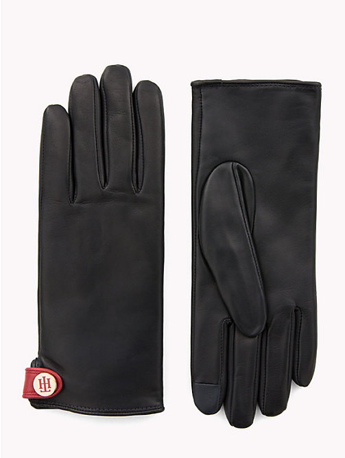 TOMMY HILFIGER Monogram Plaque Leather Gloves - TOMMY NAVY - TOMMY HILFIGER Gloves - main image