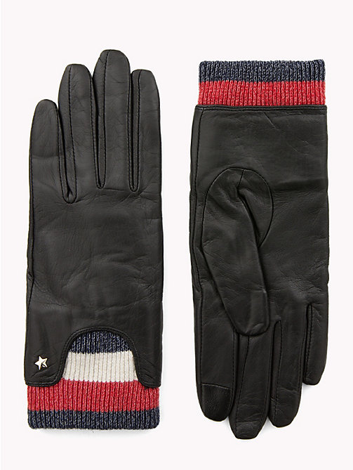 TOMMY HILFIGER Rib-Knit Cuff Leather Gloves - BLACK - TOMMY HILFIGER Gloves - main image