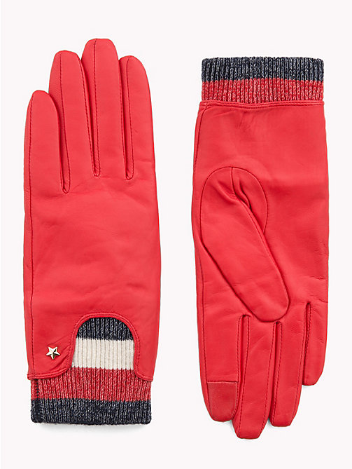 TOMMY HILFIGER Rib-Knit Cuff Leather Gloves - TOMMY RED - TOMMY HILFIGER Gloves - main image