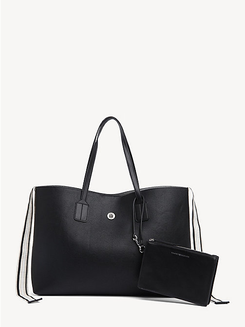 TOMMY HILFIGER Cool Tommy Metallic Tote Bag - BLACK - TOMMY HILFIGER Tote Bags - main image