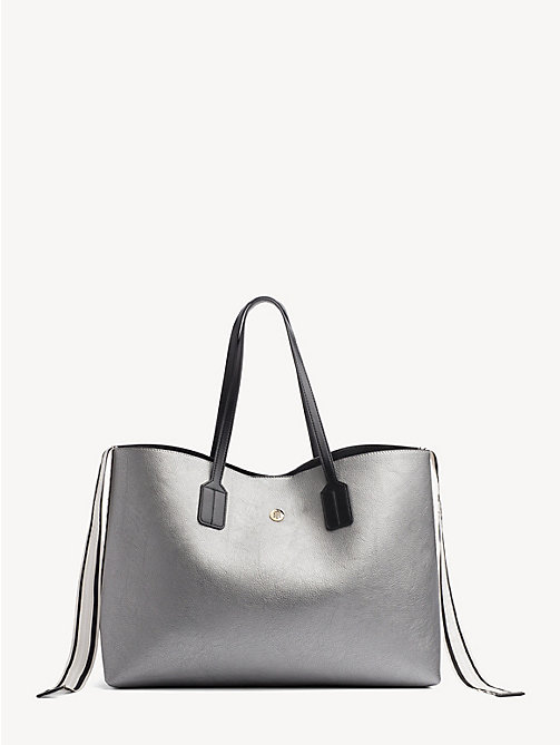 TOMMY HILFIGER Cool Tommy Metallic Tote Bag - PEWTER - TOMMY HILFIGER Tote Bags - main image