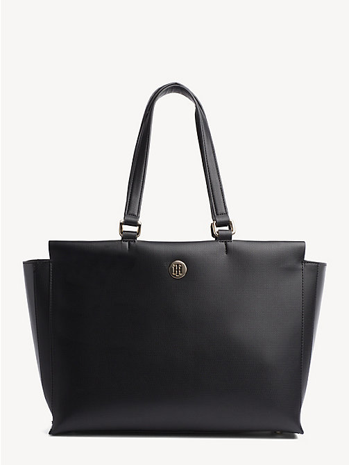TOMMY HILFIGER Effortless Monogram Plaque Tote Bag - BLACK - TOMMY HILFIGER Tote Bags - main image