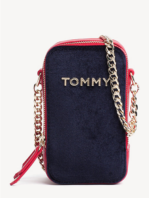 TOMMY HILFIGER TH Idol Velvet Crossover Bag - TOMMY NAVY - TOMMY HILFIGER Party Looks - main image