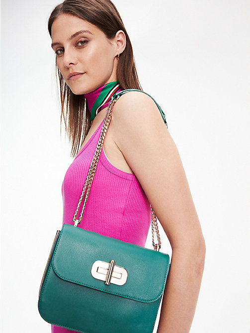 TOMMY HILFIGER Leather Turnlock Crossover Bag - EVERGREEN - TOMMY HILFIGER Crossbody Bags - detail image 1
