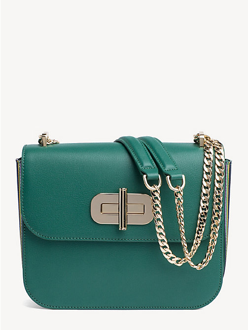 TOMMY HILFIGER Leather Turnlock Crossover Bag - EVERGREEN - TOMMY HILFIGER Crossbody Bags - main image