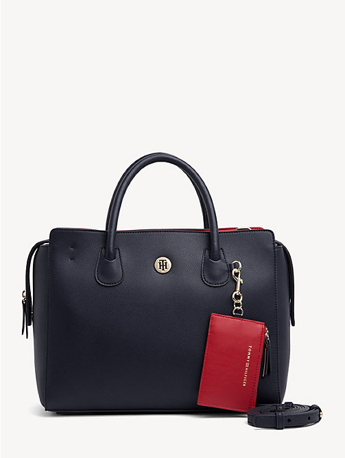 TOMMY HILFIGER Monogram Tommy Satchel - TOMMY NAVY & TOMMY RED - TOMMY HILFIGER Satchel Bags - main image