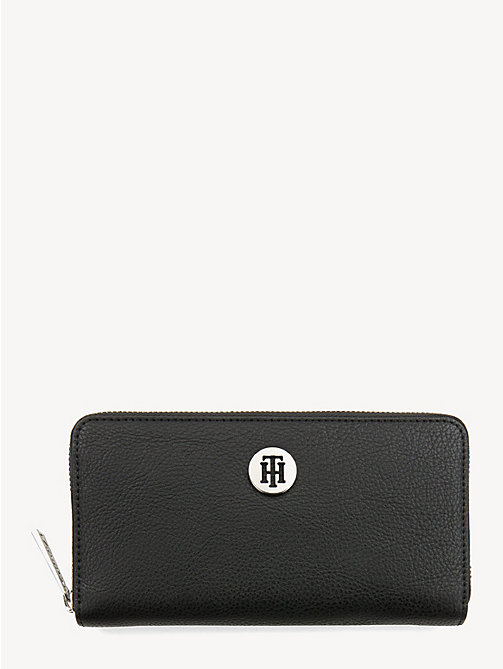 TOMMY HILFIGER Large Zip-Around Wallet - BLACK - TOMMY HILFIGER Wallets - main image